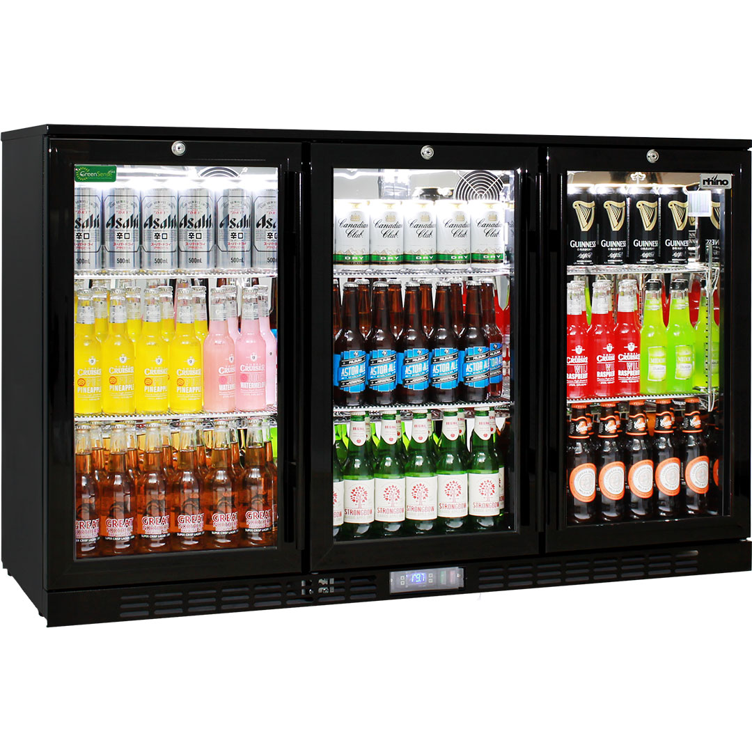 Rhino Commercial 3 Door Glass Bar Fridge