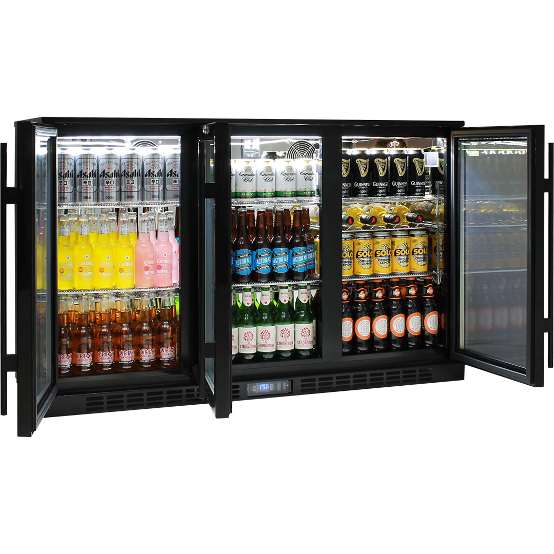 Rhino Commercial 3 Door Glass Bar Fridge 5