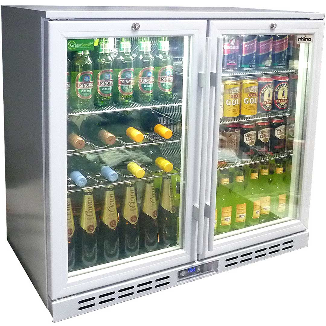 Rhino Glass 2 Door Silver Commercial Bar Fridge With Low E