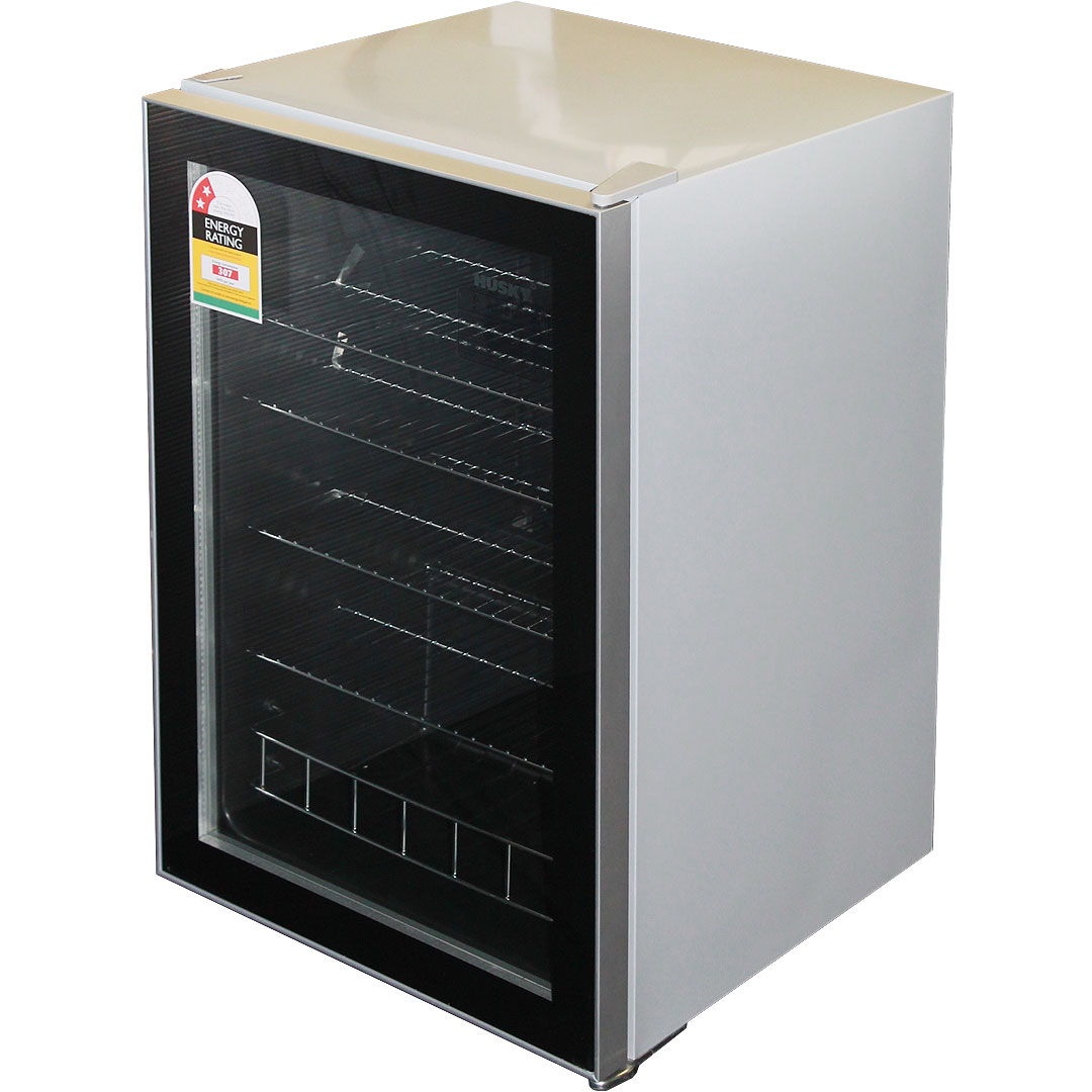 Husky Glass Door Tropical Fridge 130litre Silver