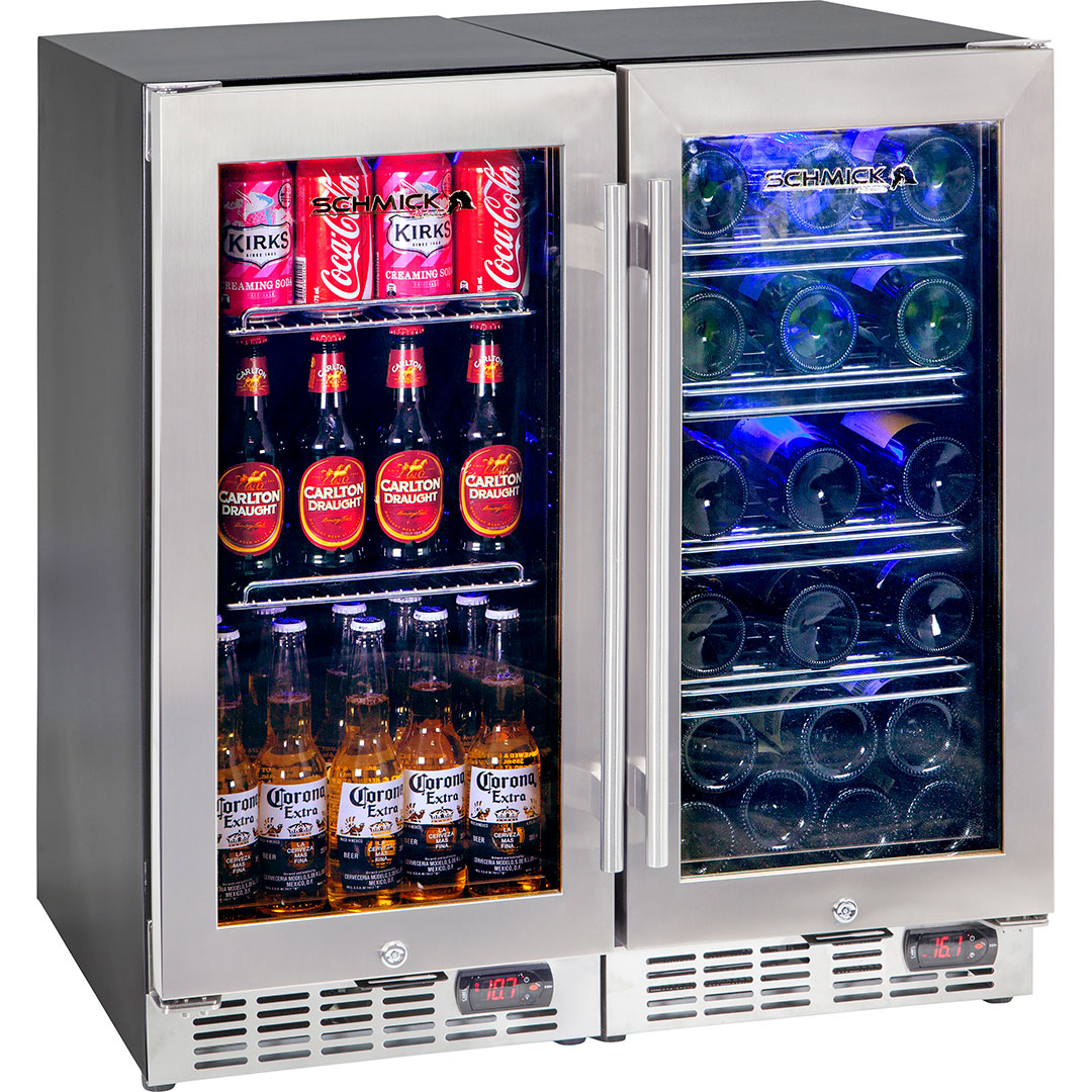 Wine And Beer Underbench Glass Door Bar Fridge Combination