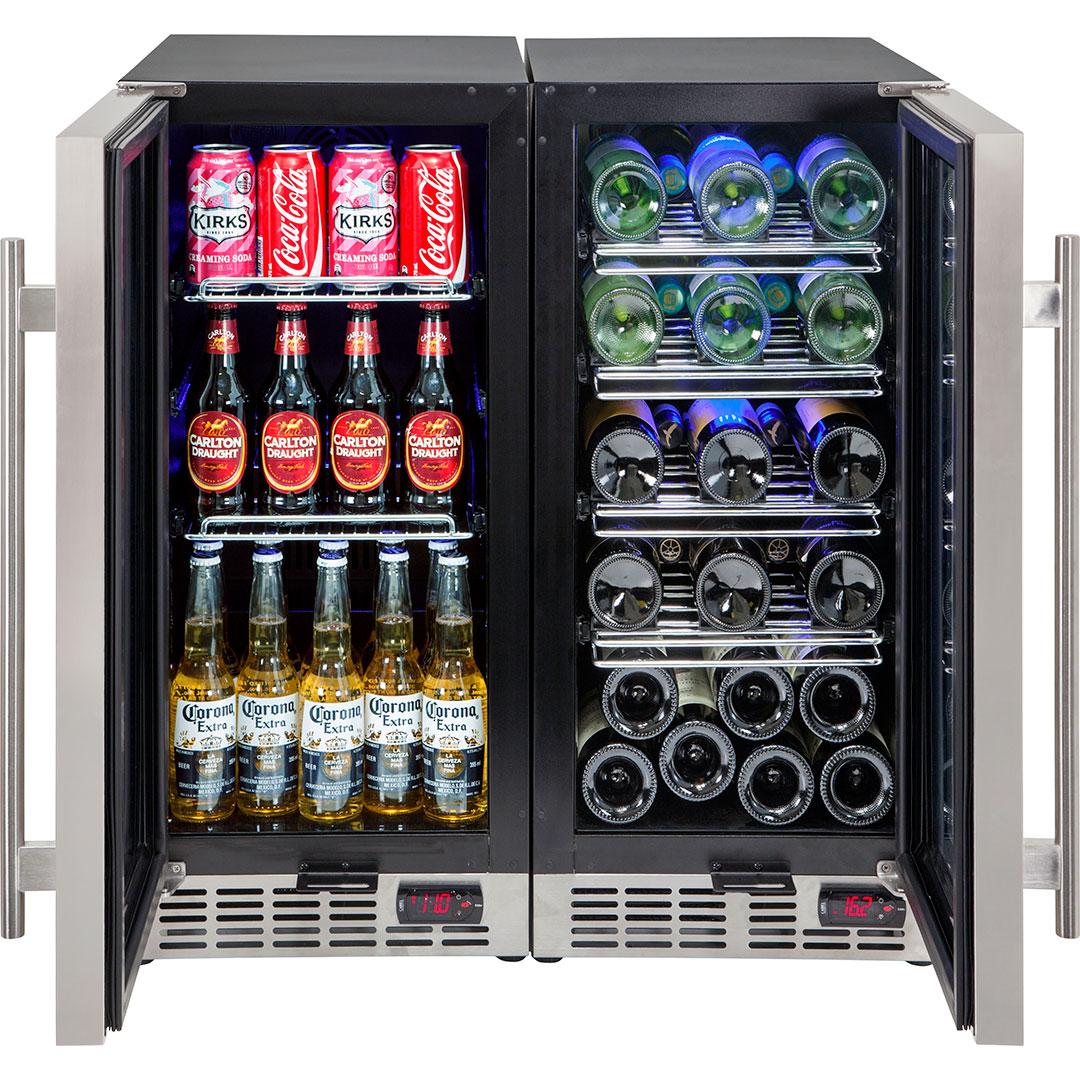 Wine And Beer Underbench Glass Door Bar Fridge Combination