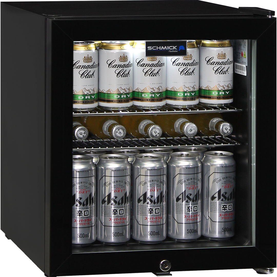 Glass Door Compact Bar Fridge 50 Litre With Lock