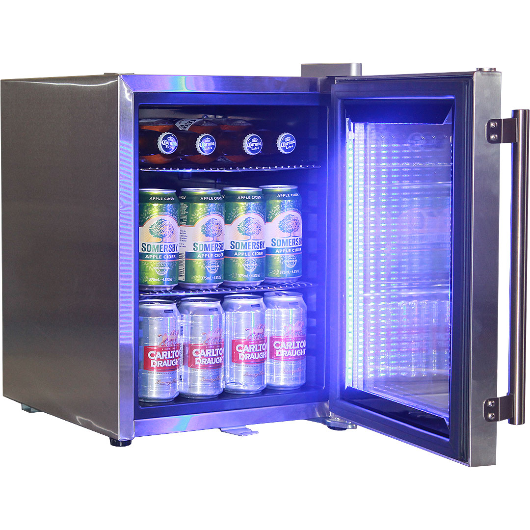 Stainless Steel Mini Bar Fridge With Led Strip Light And Lock