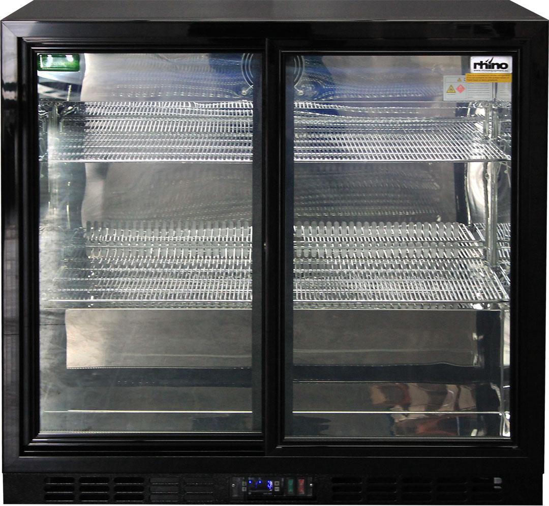 Glass 2 Door Sliding Commercial Back Bar Bar Fridge Energy