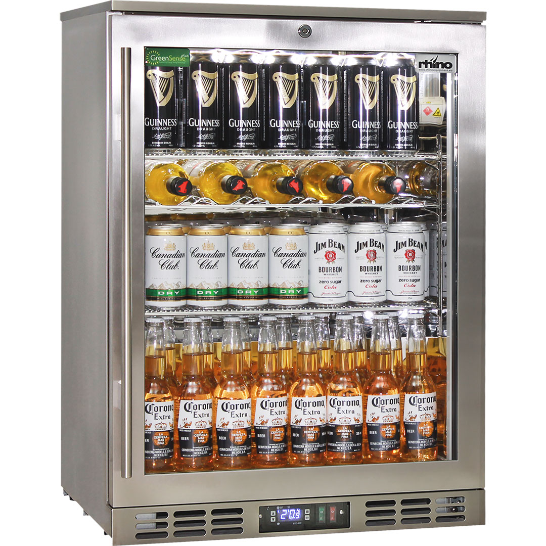 Rhino Triple Glass 1 Door Quiet Stainless Steel Bar Fridge Made For