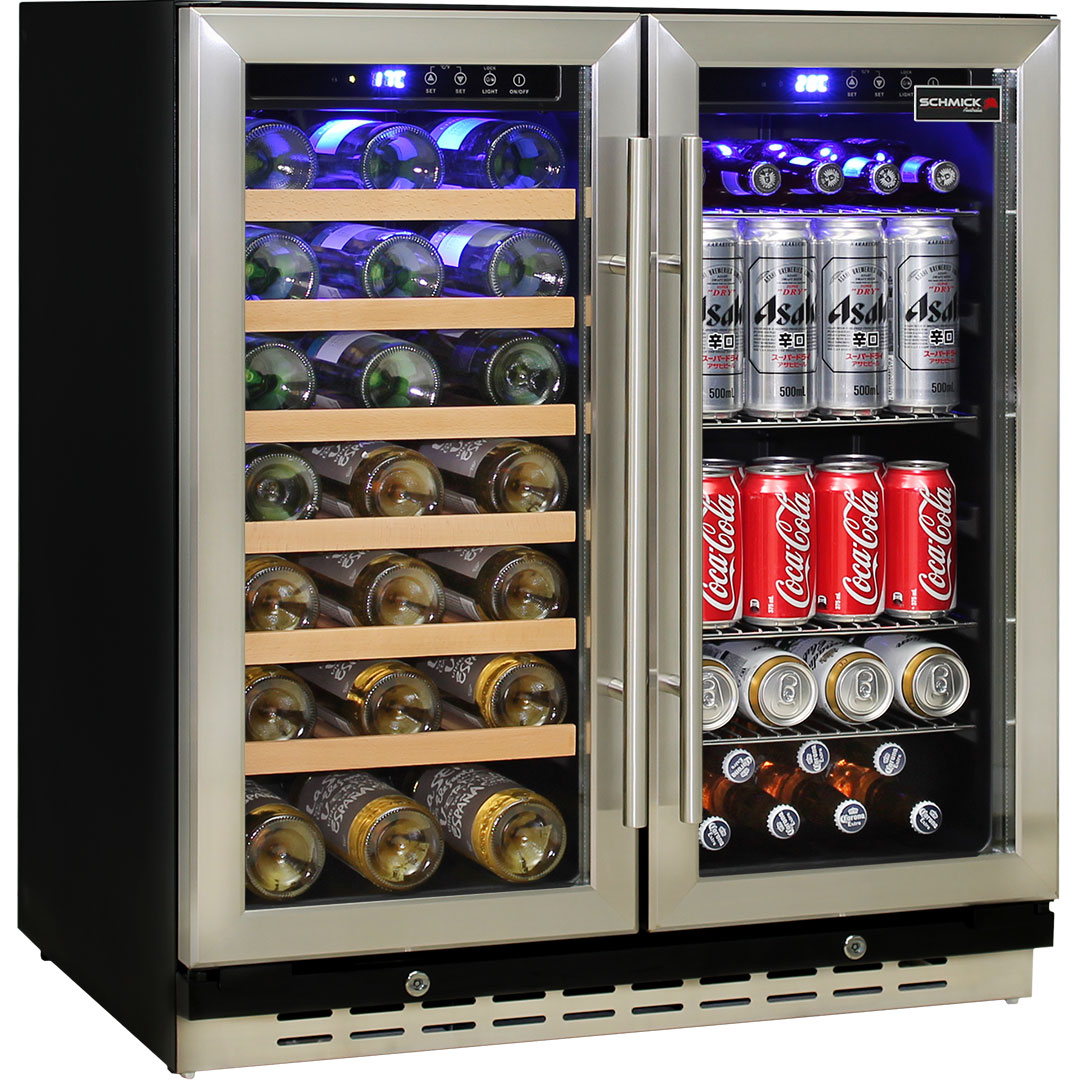 Schmick Twin Zone Beer And Wine Bar Fridge Designed For