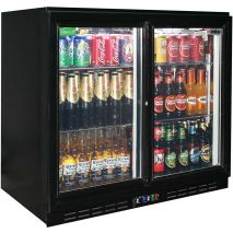 Rhino Commercial 2 Sliding Glass Door Black Bar Fridge Model SG2S-B (1)