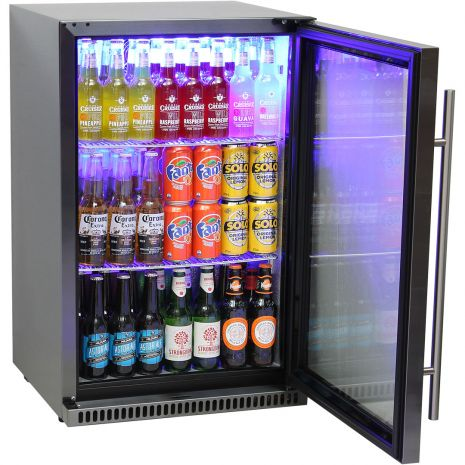 Schmick Black Stainless Steel 1 Door Alfresco Bar Fridge
